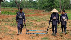 Land clearance operations by using a metal detector